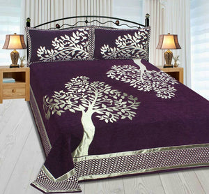 Tree Pattern Heavy Chenille Bedcovers - Luxury Purple
