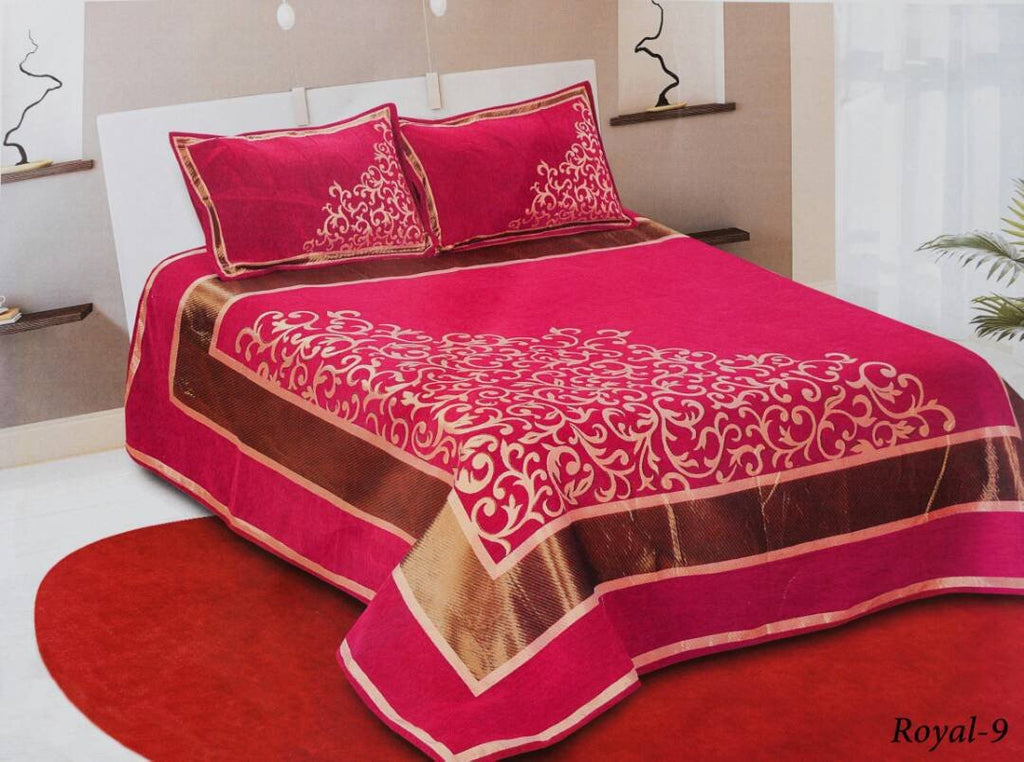 Work of Art Royal Heavy Chenille Bedcovers- Royal Pink