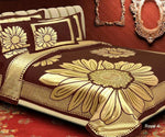 Floral Pattern Heavy Chenille Bedcover Golden Flower
