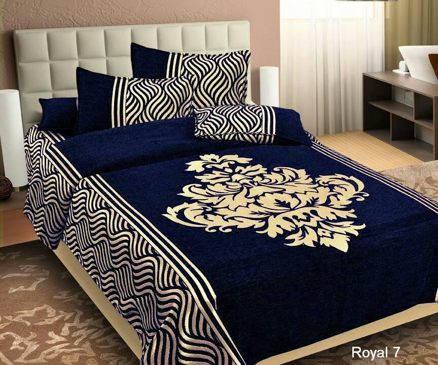 Wonder of Maze Royal Heavy Chenille Blue Bedcovers