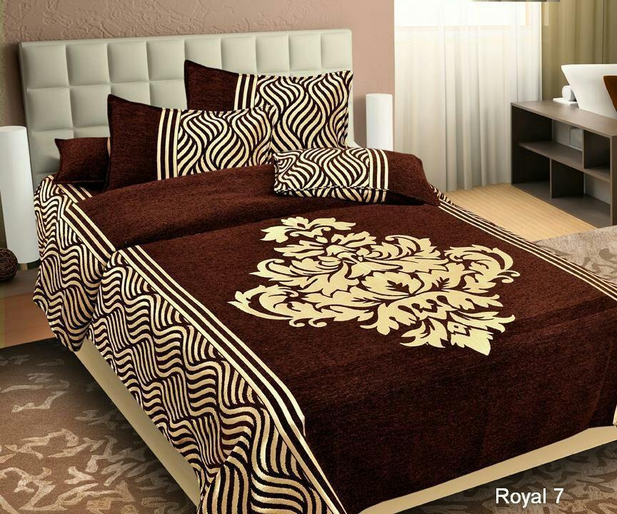 Wonder of Maze Royal Heavy Chenille Brown Bedcovers