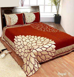 Leaf Pattern Heavy Chenille Bedcovers Red