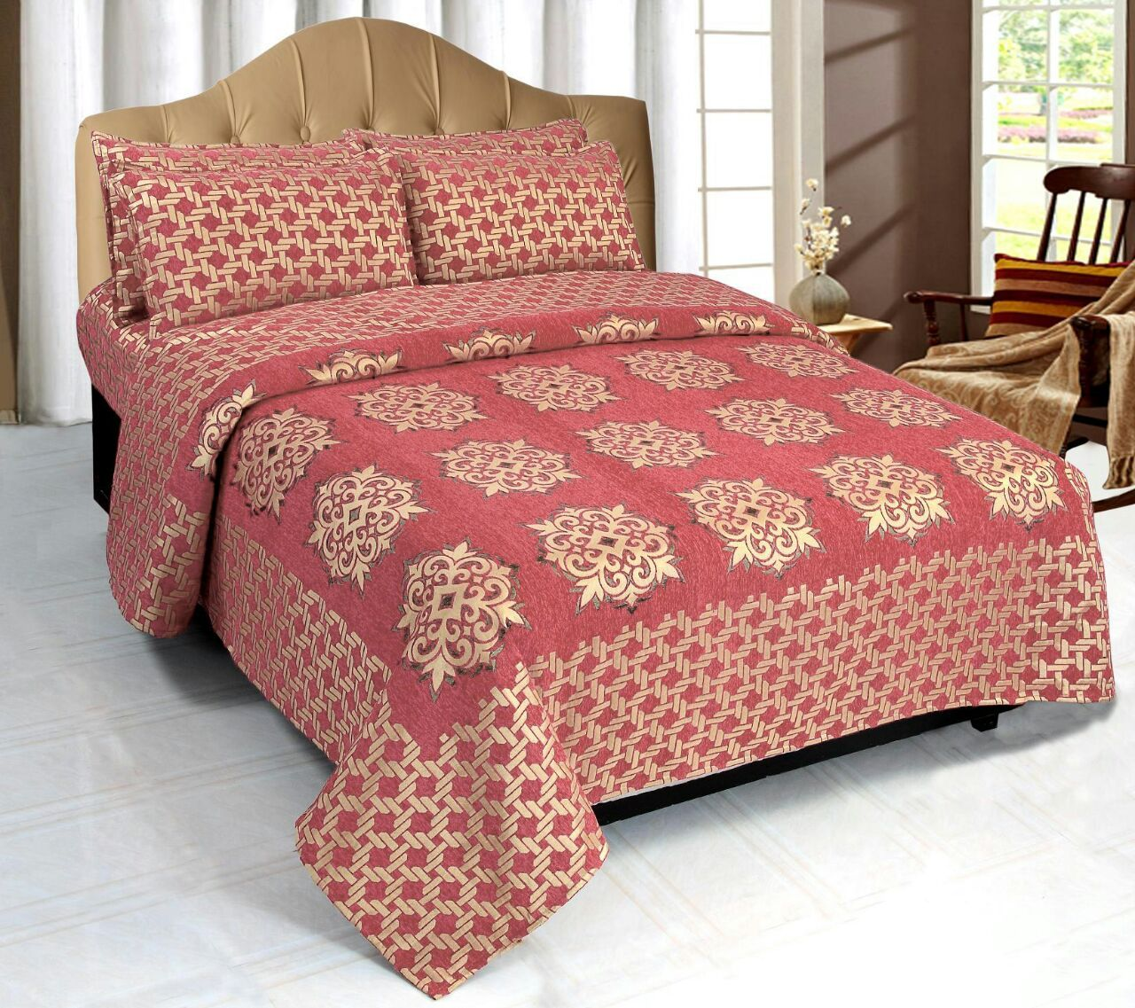 Network of Spades Chenille Bedcovers - C