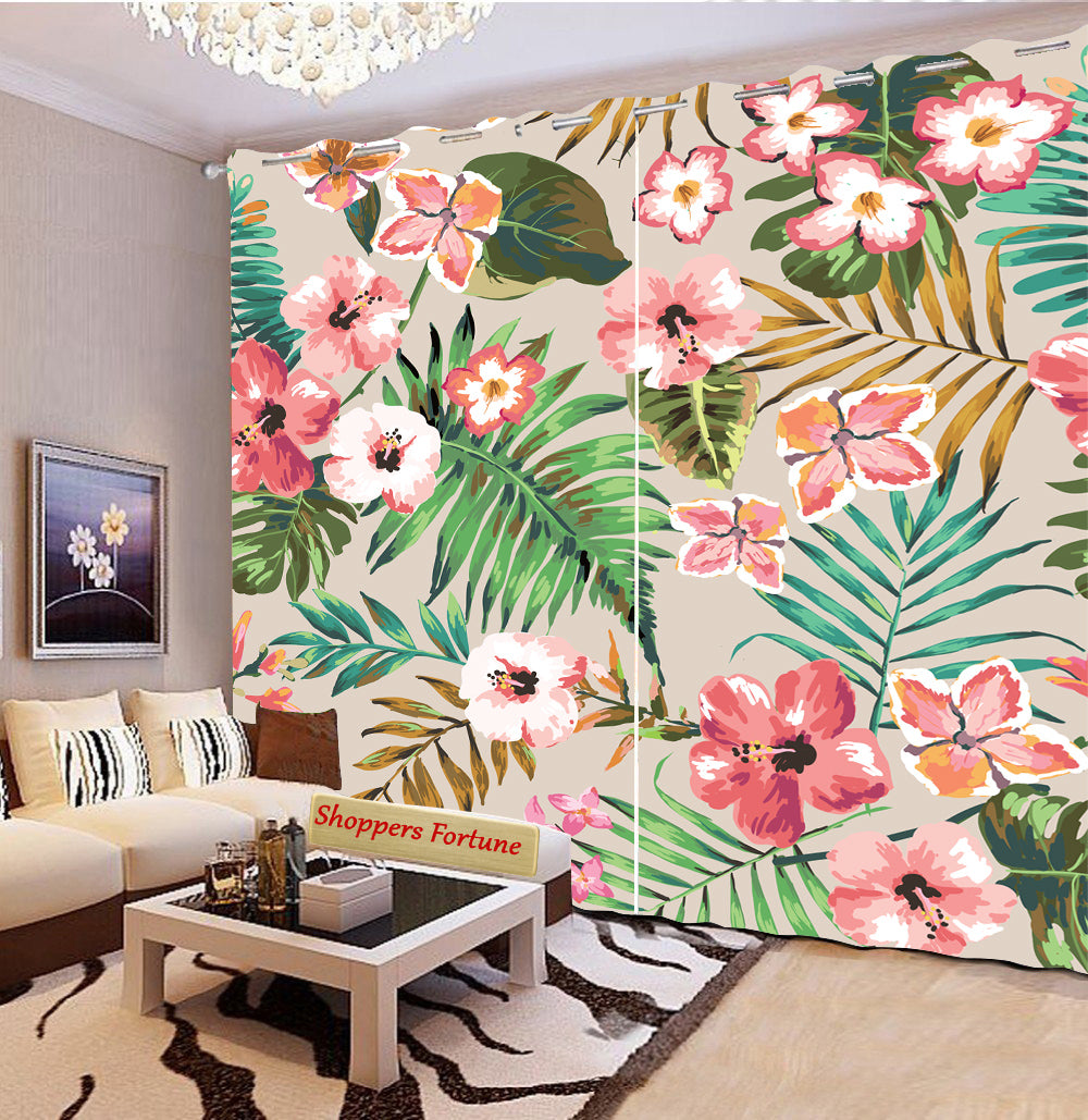 Premium Blackout Digital Curtains - World of Hibiscus(Set of 2) 2020 Edition