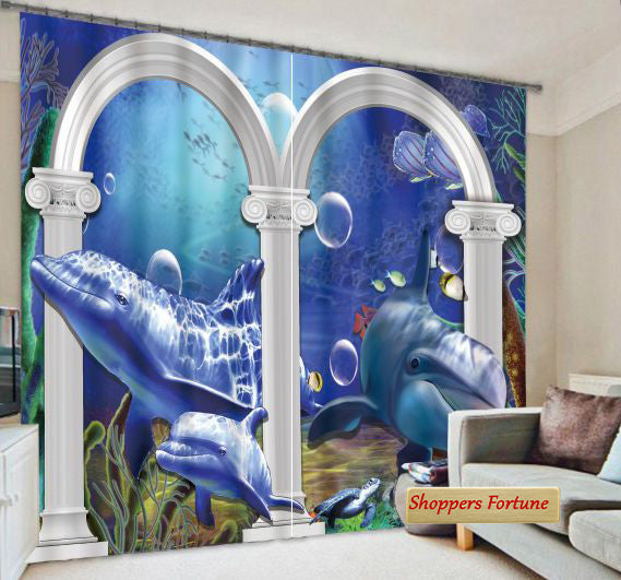 Premium Blackout Digital Curtains - Dolphin World(Set of 2)