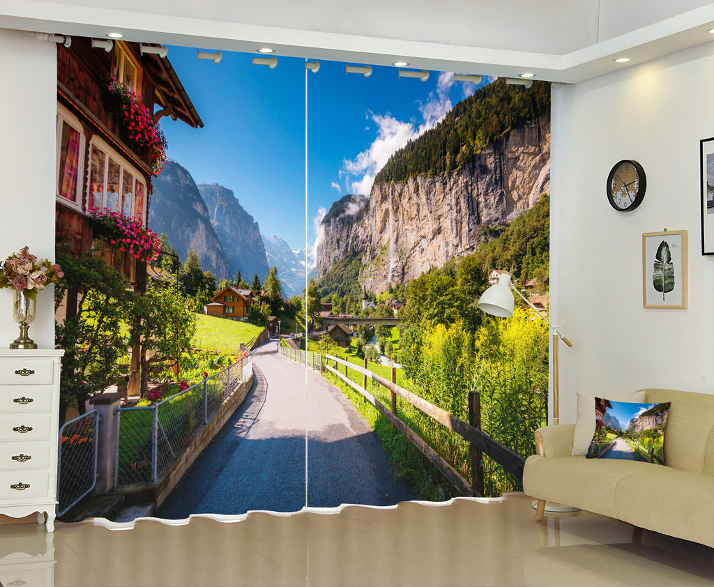 Premium Blackout Digital Curtains - Road to Alps(Set of 2) 2020 Edition