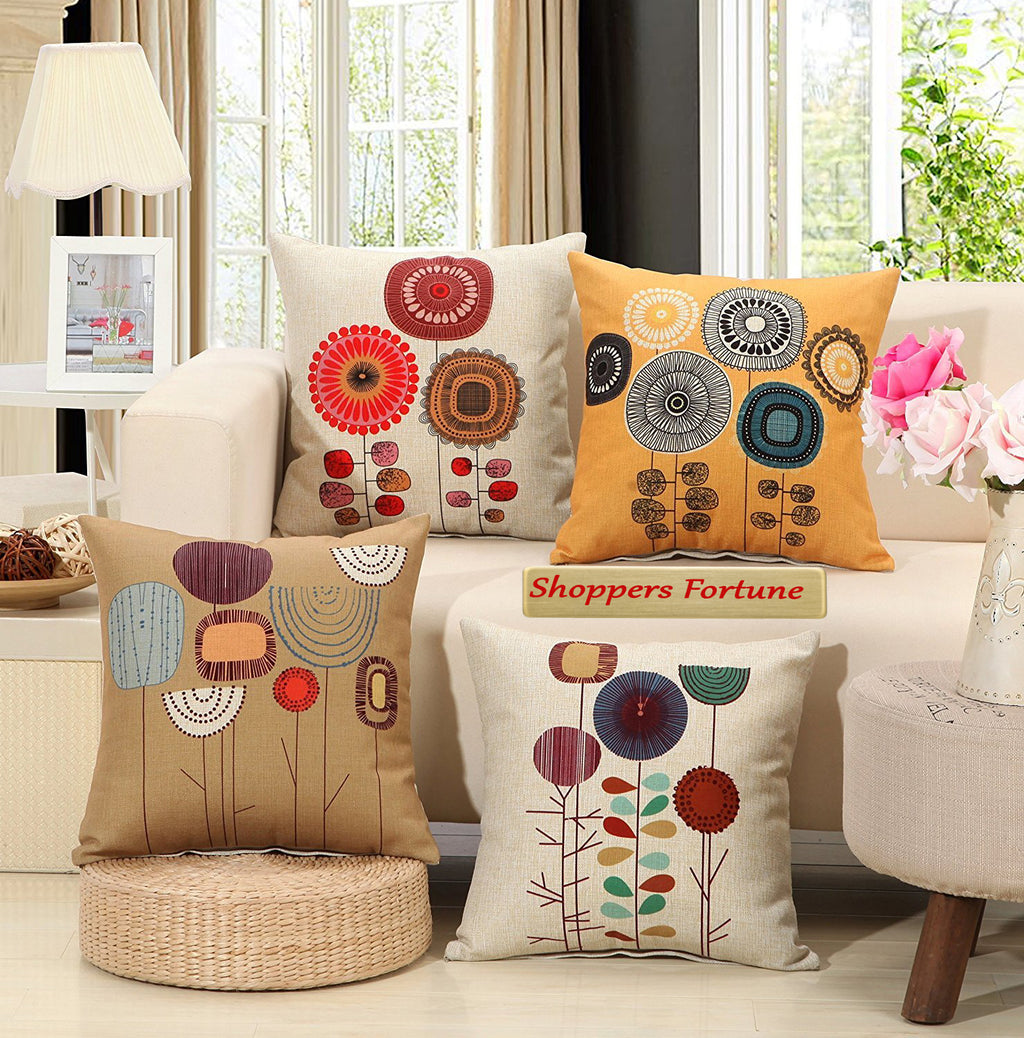 Realm of Roses Jute Cushion Covers - 5 Piece/Set