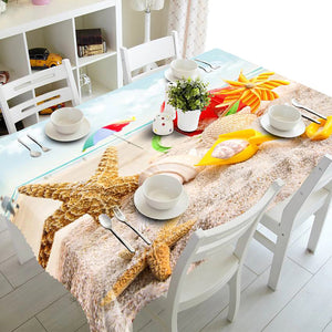 Digital Water Resistant Table Cover - Sandy Shore