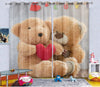 Kids Digital Blackout Curtains -  Cozy Couple Teddy (Set of 2)