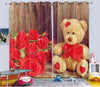 Kids Digital Blackout Curtains - Teddy likes Roses (Set of 2)