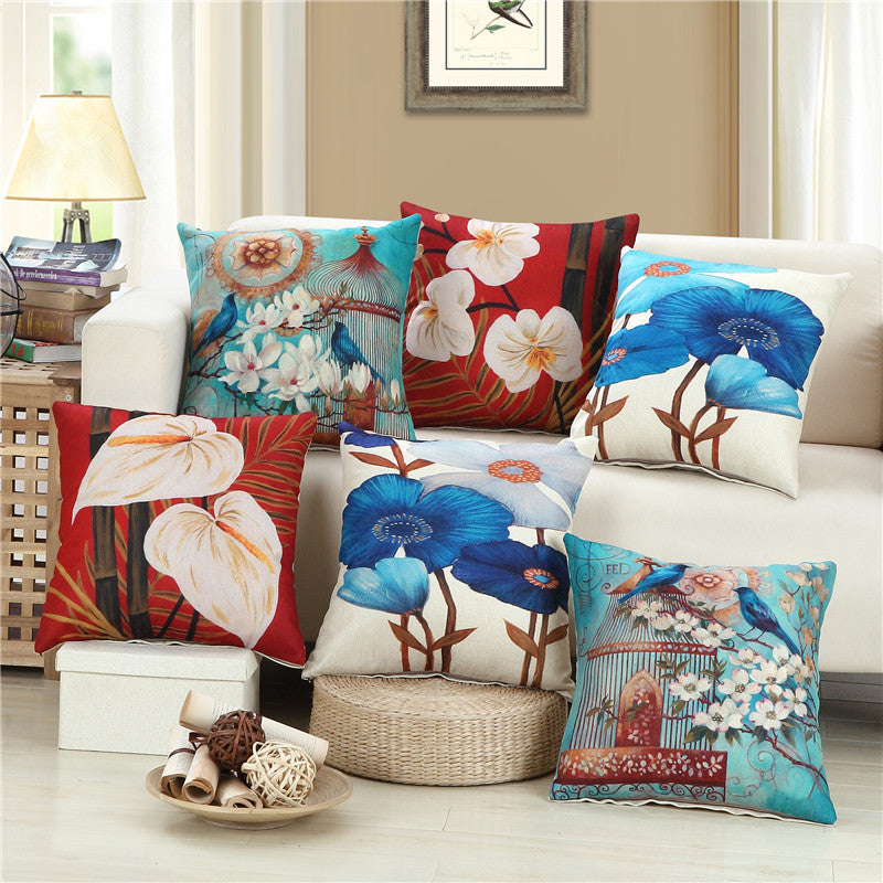 Majesty of Flora Cotton Feel Cushion Covers - 5 Piece/Set