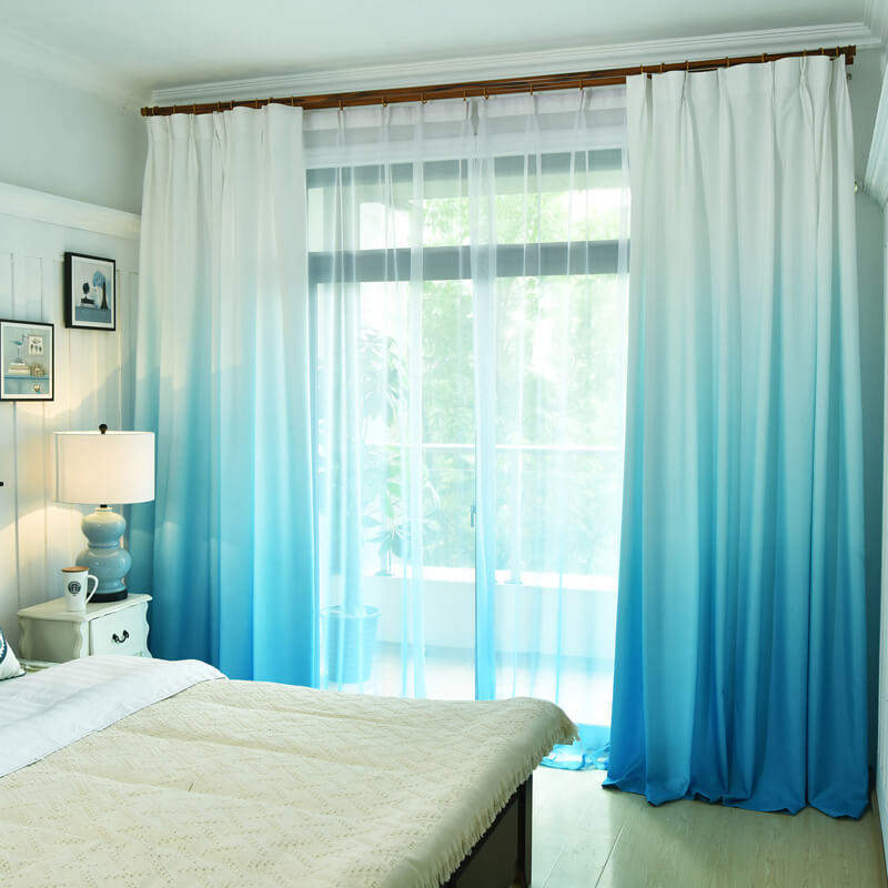 Shading Effect Premium Blackout Curtains - Blue