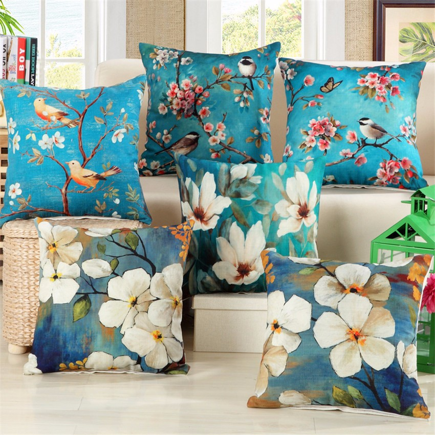 Birds & Flora Cotton Feel Cushion Covers - 5 Piece/Set