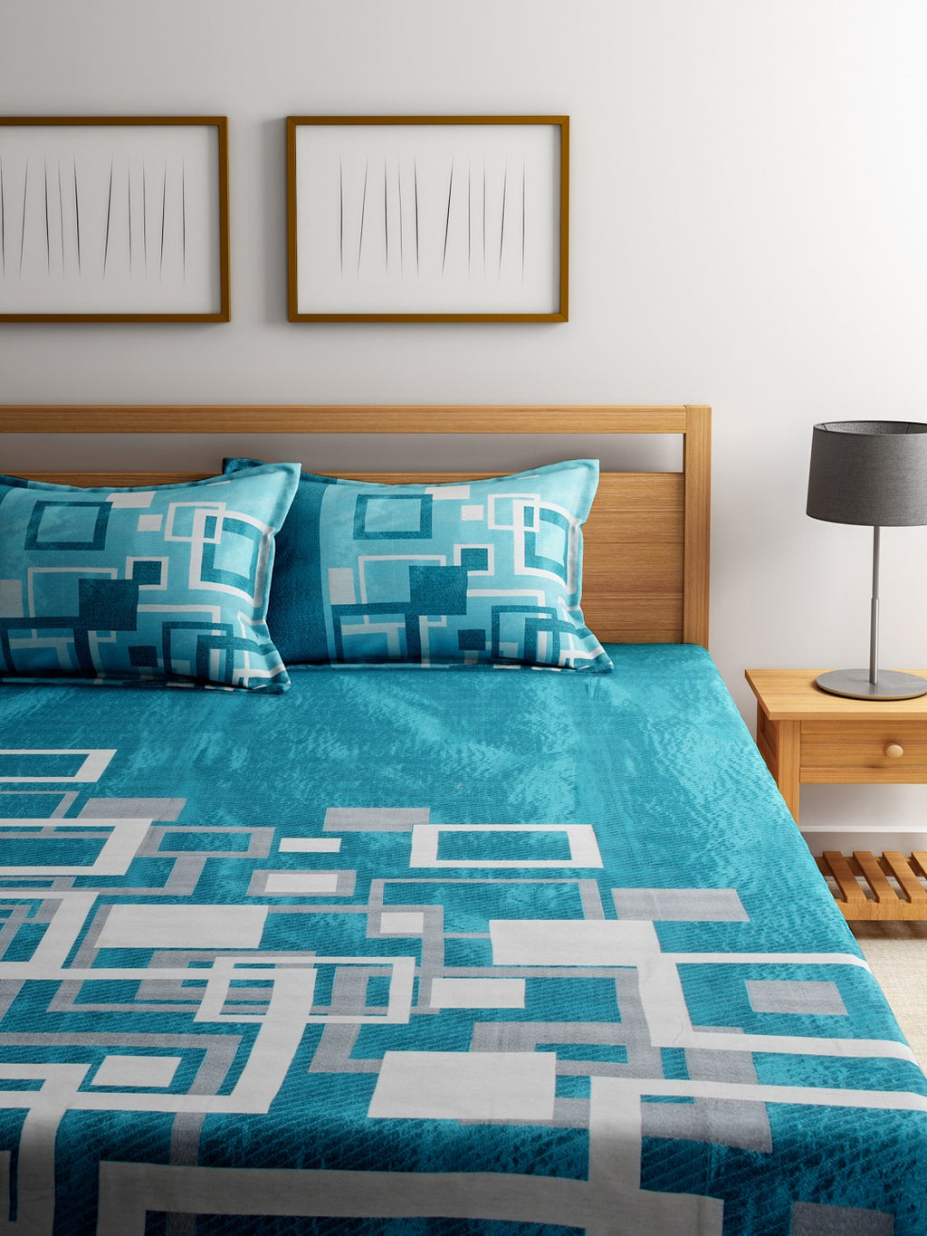 Channel of Maze Reversible Cotton Bedsheet - Cadet Blue