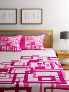 Channel of Maze Reversible Cotton Bedsheet - Pink