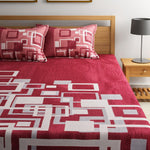Channel of Maze Reversible Cotton Bedsheet - Rosewood