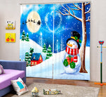 Christmas Theme Blackout Curtains - Snowman in Wonderland(Set of 2)