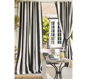 Classic Vintage Style Premium Blackout Curtains - Black & White Striped(Set of 2)