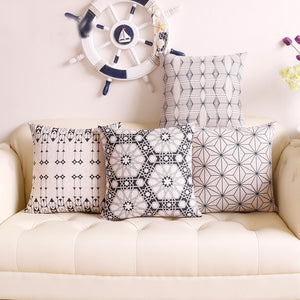Classical Black & White Ethnic Pattern Cotton Feel Cushion Covers - 5 Piece/Set