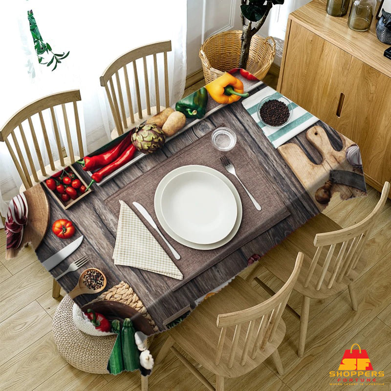 Digital Water Resistant Table Cover - Dinner Time