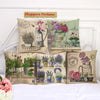 Floral Pots Cotton Feel Cushion Covers - 5 Piece/Set