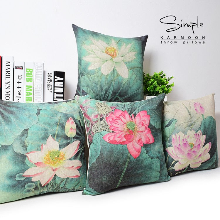Lotus Blossoms Cotton Feel Cushion Covers - 5 Piece/Set