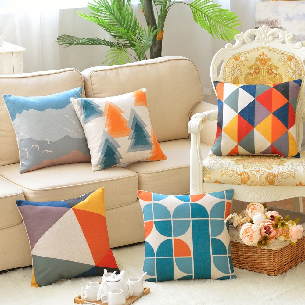 Modern Colorful Geometric Cotton Feel Cushion Covers - 5 Piece/Set