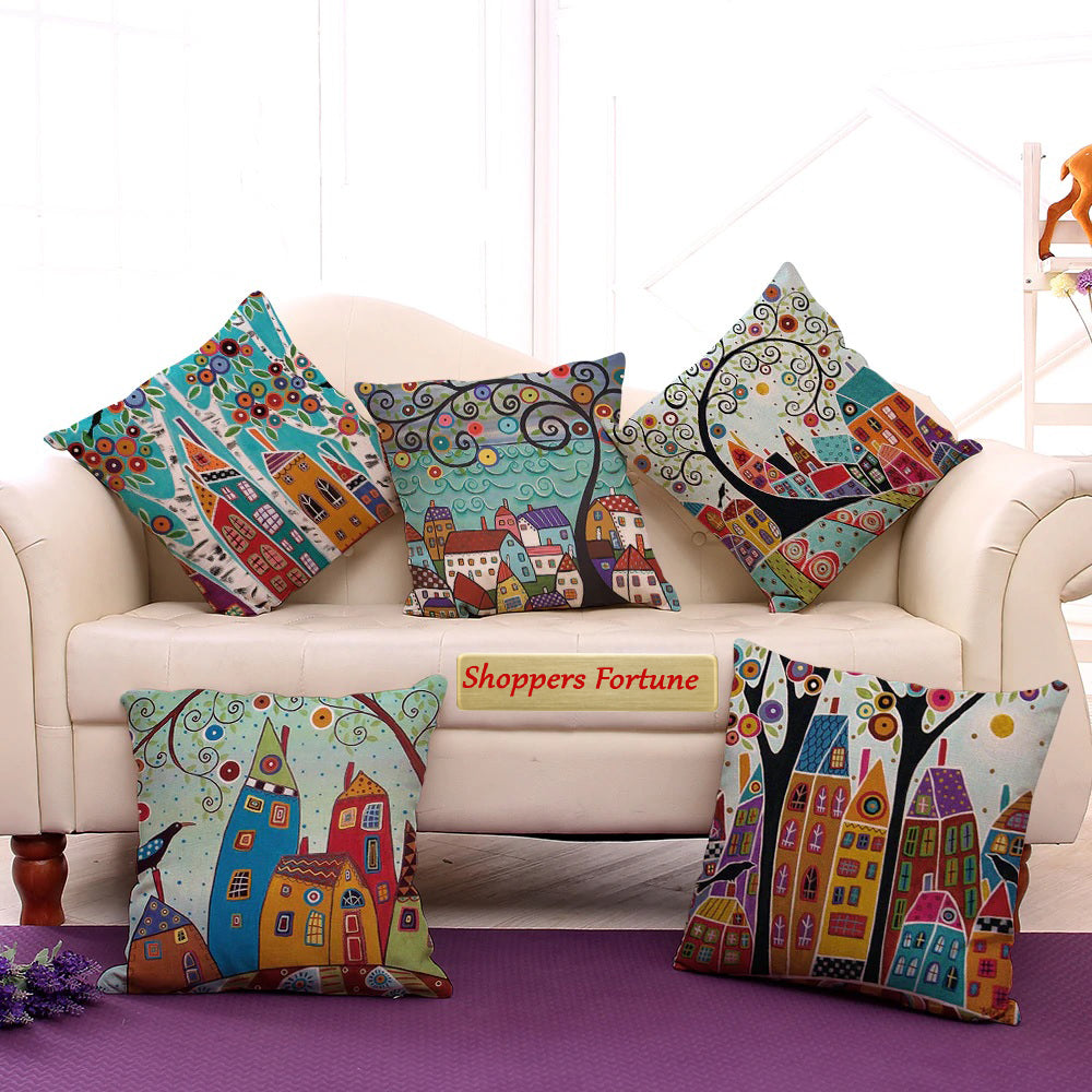 Moroccan Style Architecture Cotton Feel Cushion Covers - 5 Piece/Set