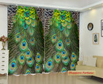 Digital Heavy Long Crush Curtains - Elegant Peacock Feather