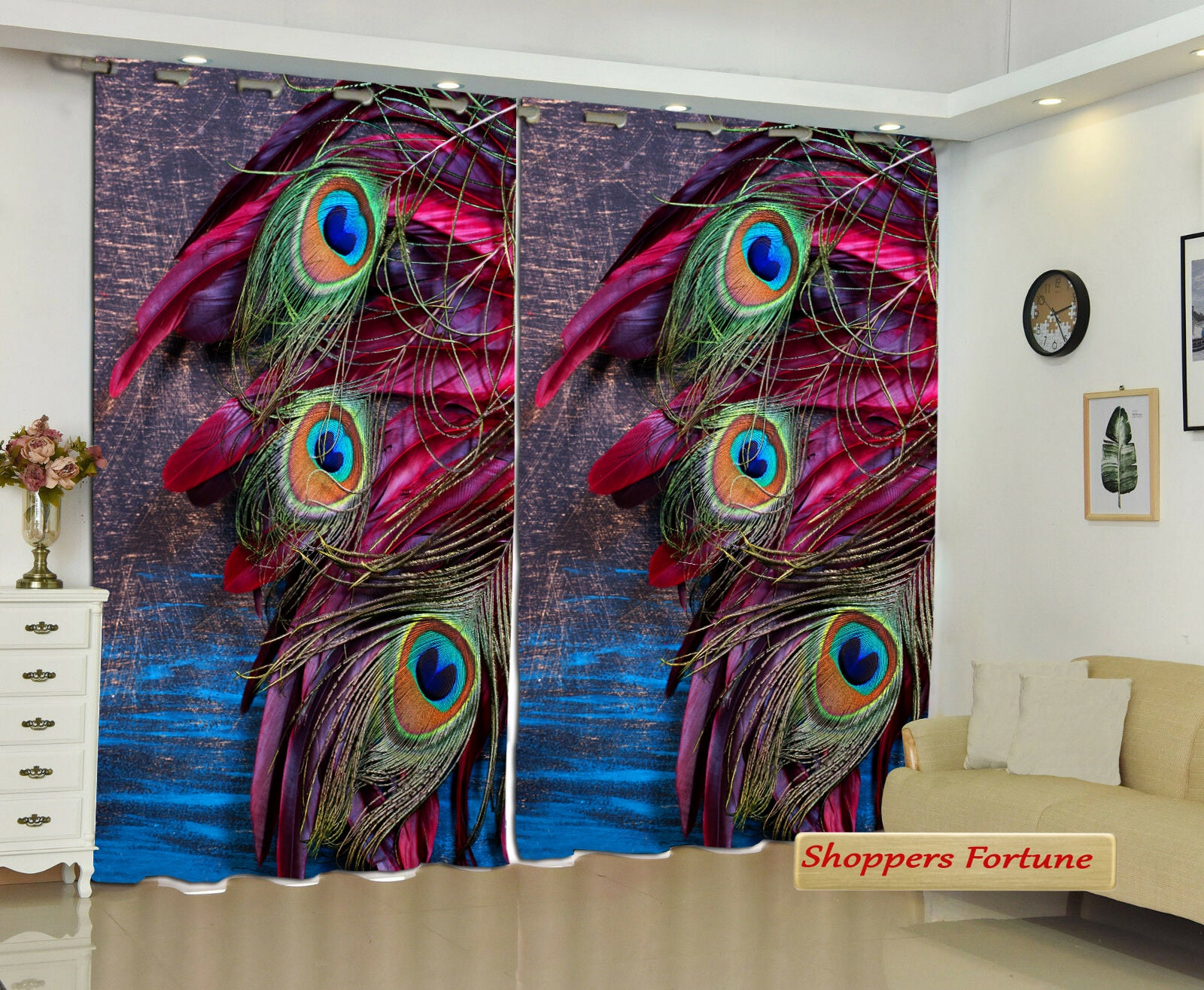 Premium Digital Curtains - Peacock's Wings of Destiny(Set of 2)