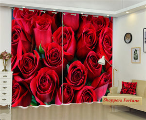 Premium Blackout Digital Curtains - Realm of Red Roses(Set of 2)