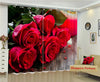Premium Blackout Digital Curtains - Valentine Red Roses(Set of 2)