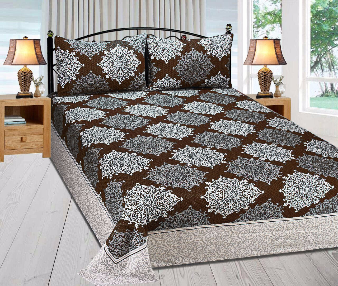 Royal Medallion Reversible Cotton Bedsheet - Chocolate