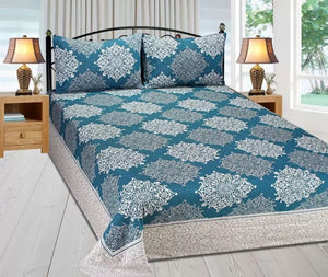 Royal Medallion Reversible Cotton Bedsheet - Navy Blue