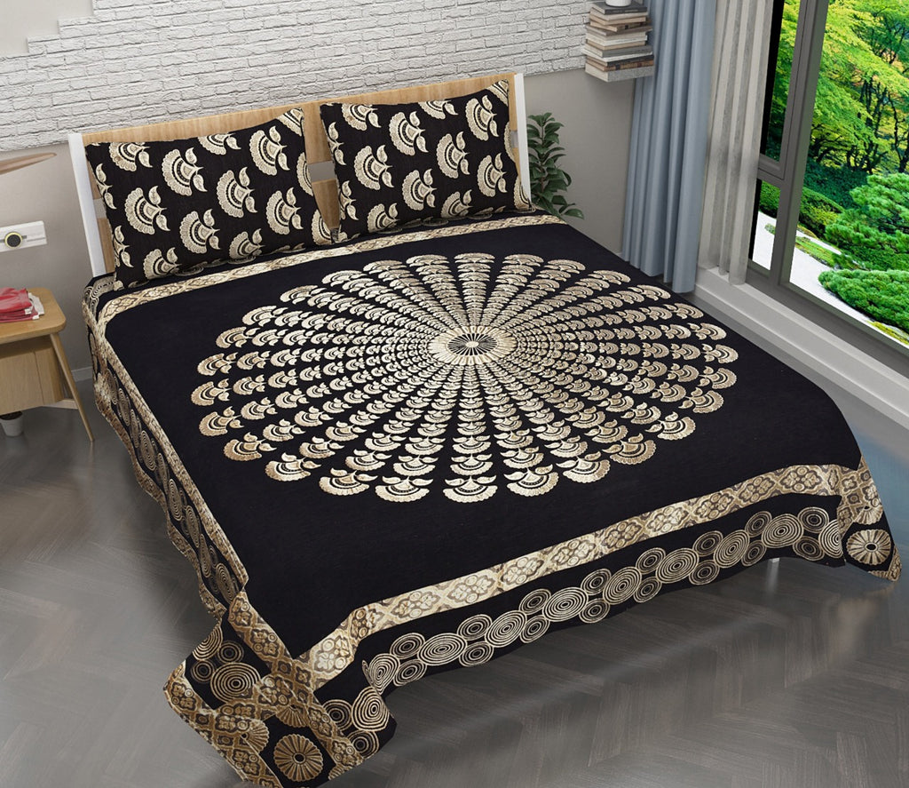 Royal Peacock Art Chenille Bedcovers - Black