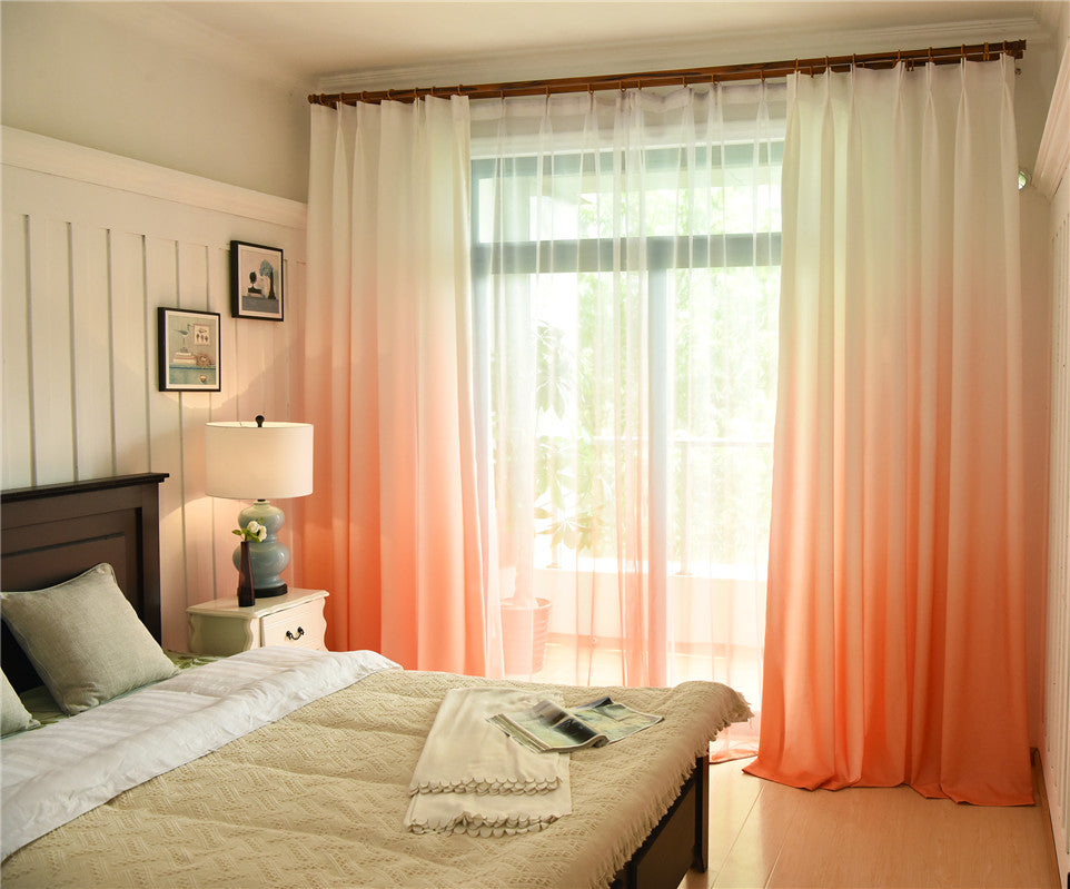 Shading Effect Premium Blackout Curtains - Orange