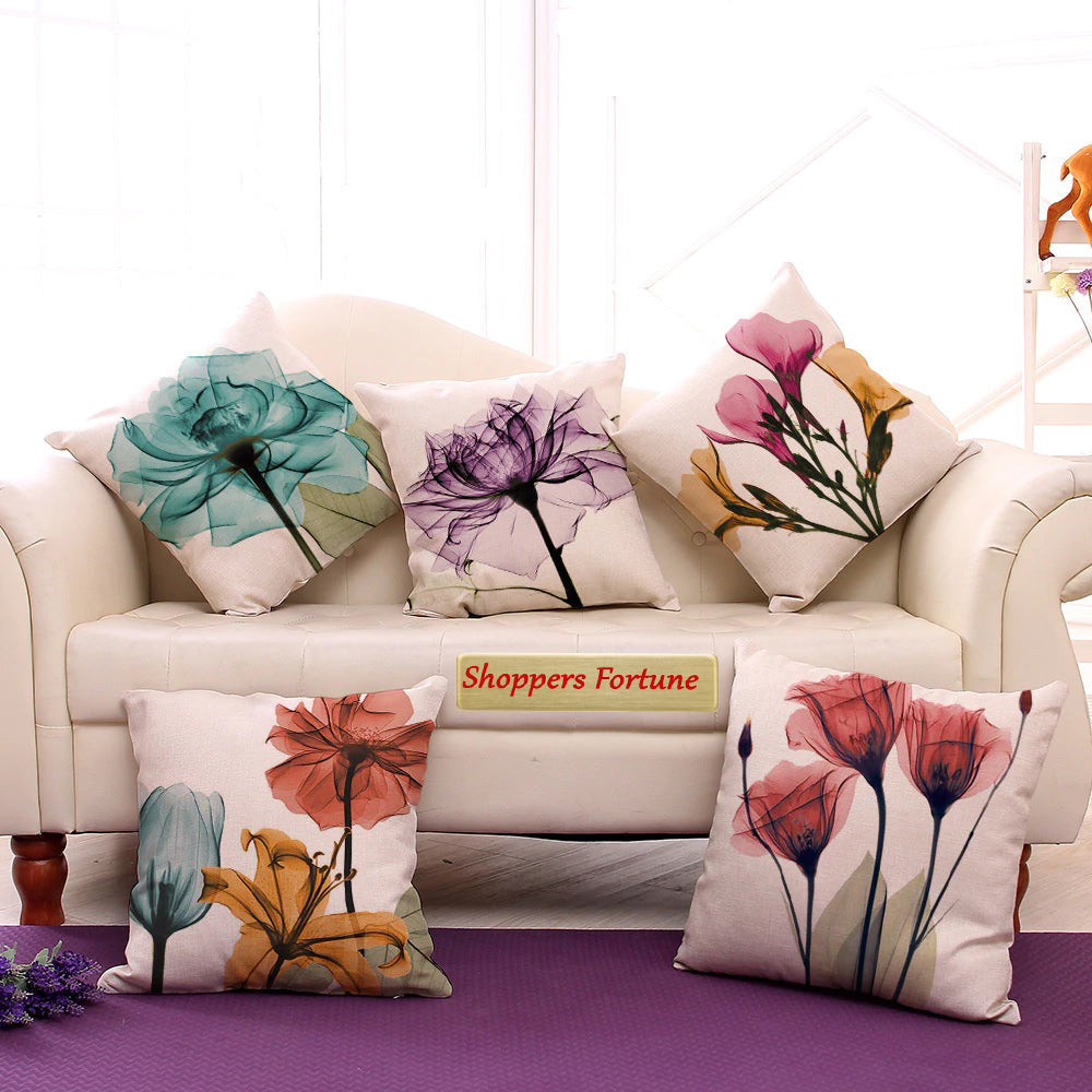 Sporal Flora Cotton Feel Cushion Covers - 5 Piece/Set