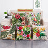 Tropical Flora Jute Cushion Covers - 5 Piece/Set