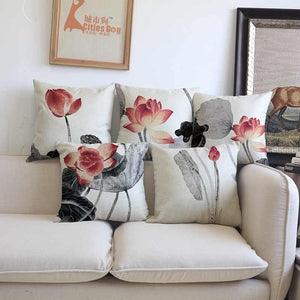 Vintage Style Flora Cotton Feel Cushion Covers - 5 Piece/Set