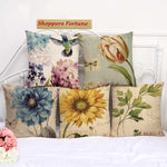 Vintage Sunflower Cotton Feel Cushion Covers - 5 Piece/Set