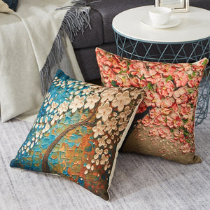 Autumn Leaves Jute Cushion Covers - 5 Piece/Set