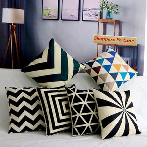 Vintage Black & White Stripe Cotton Feel Cushion Covers - 5 Piece/Set