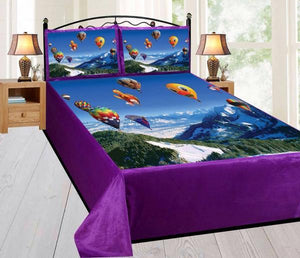 Digital Velvet Bedsheet Hot Air Balloon