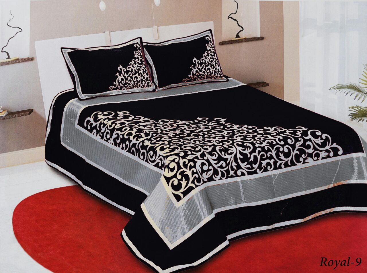 Work of Art Royal Heavy Chenille Bedcovers - Black with Silver Border