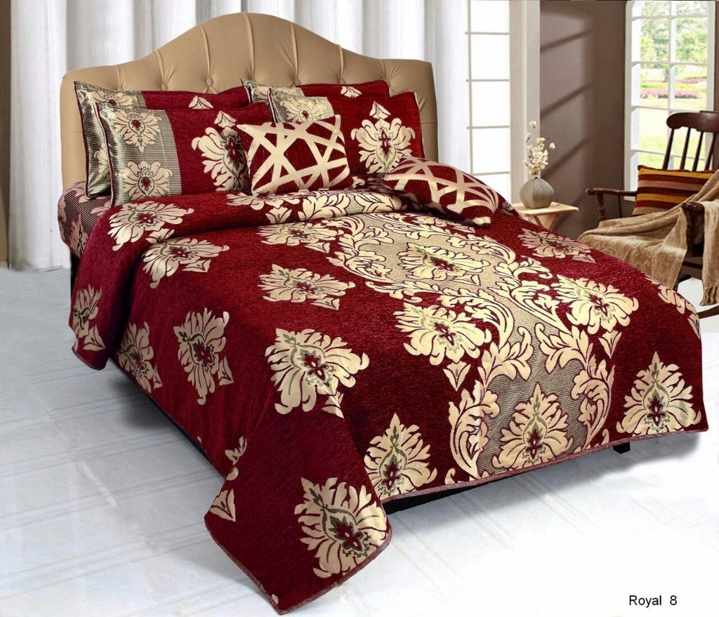 Crown Pattern Heavy Chenille Bedcovers - Red