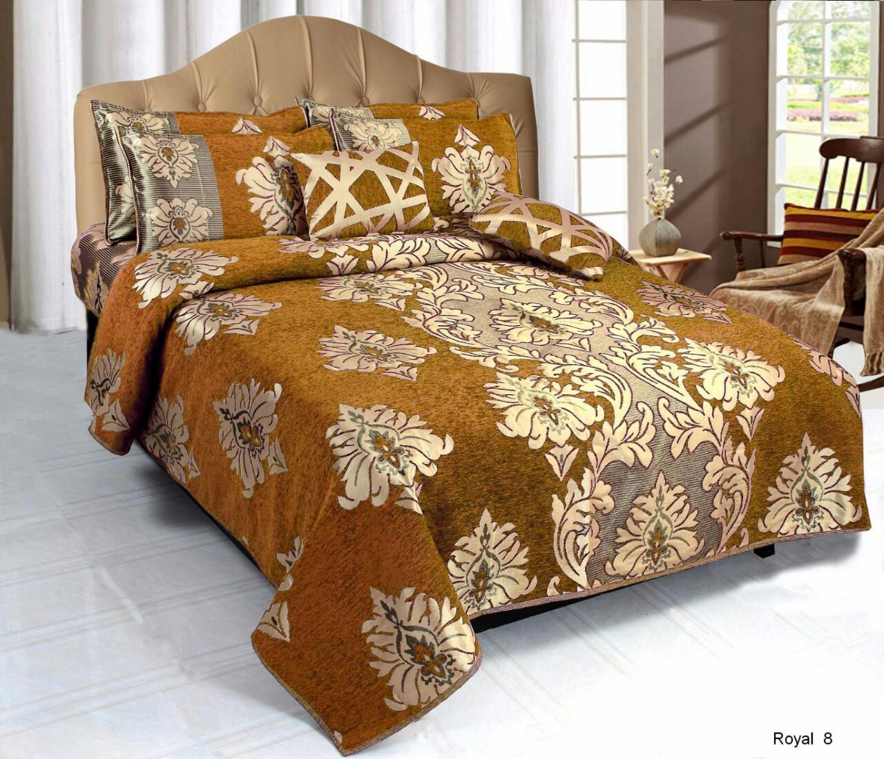 Crown Pattern Heavy Chenille Bedcovers - Golden