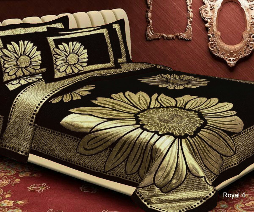 Floral Pattern Heavy Chenille Bedcovers - Black