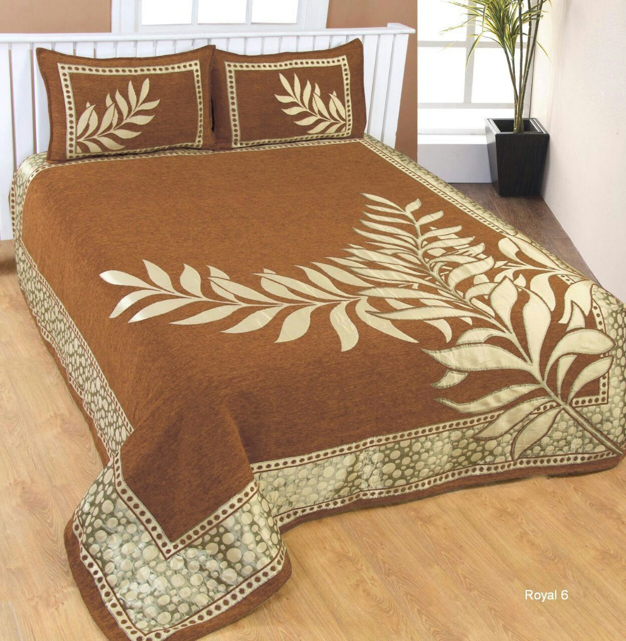 Nature Delight Royal Heavy Chenille Bedcovers Gold Brown