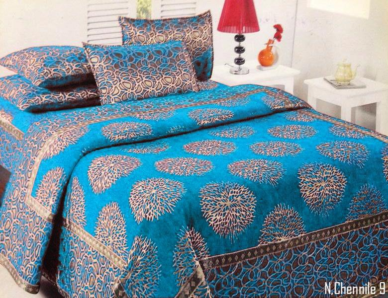 Galactic Spores Chenille Bedcovers - Ocean Blue
