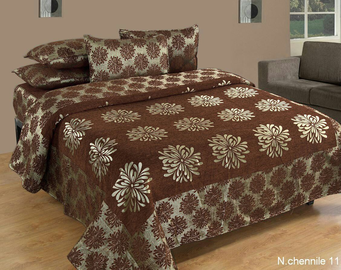 Morning Blossoming Flowers Chenille Bedcovers - D
